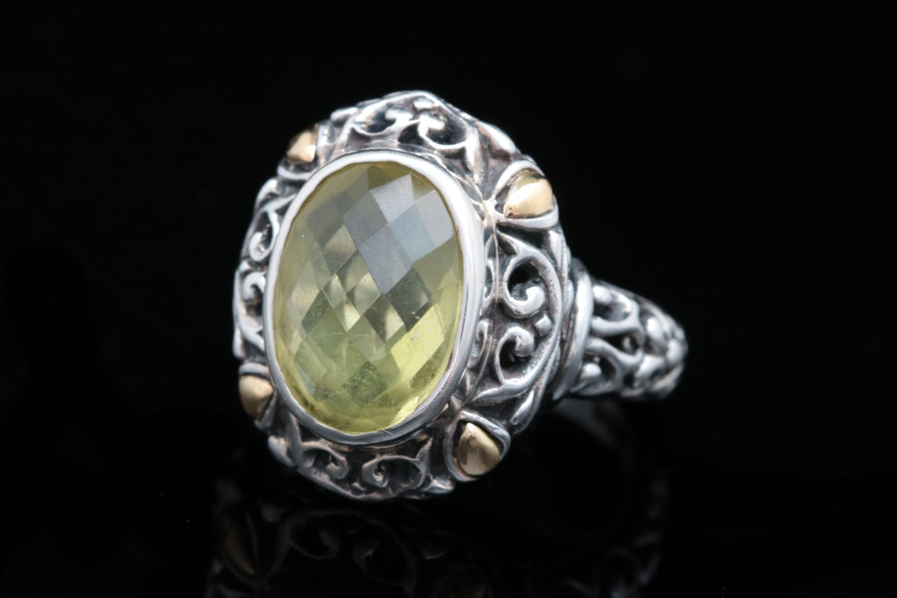Robert Manse Sterling Silver, 18K Yellow Gold and Lemon Qaurtz Ring