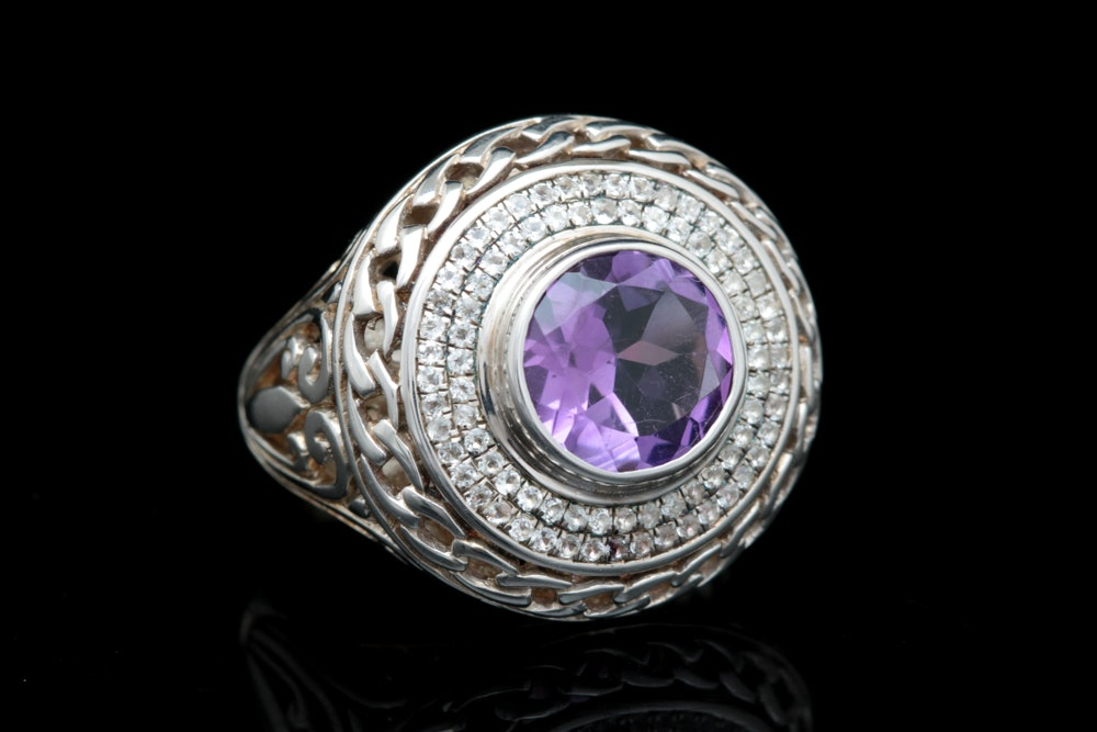 Robert Manse Sterling Silver, Amethyst and White Topaz Ring