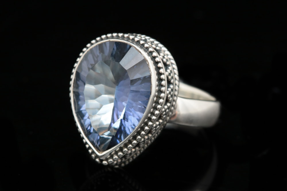 Robert Manse Sterling Silver and Coated Blue Quartz Ring