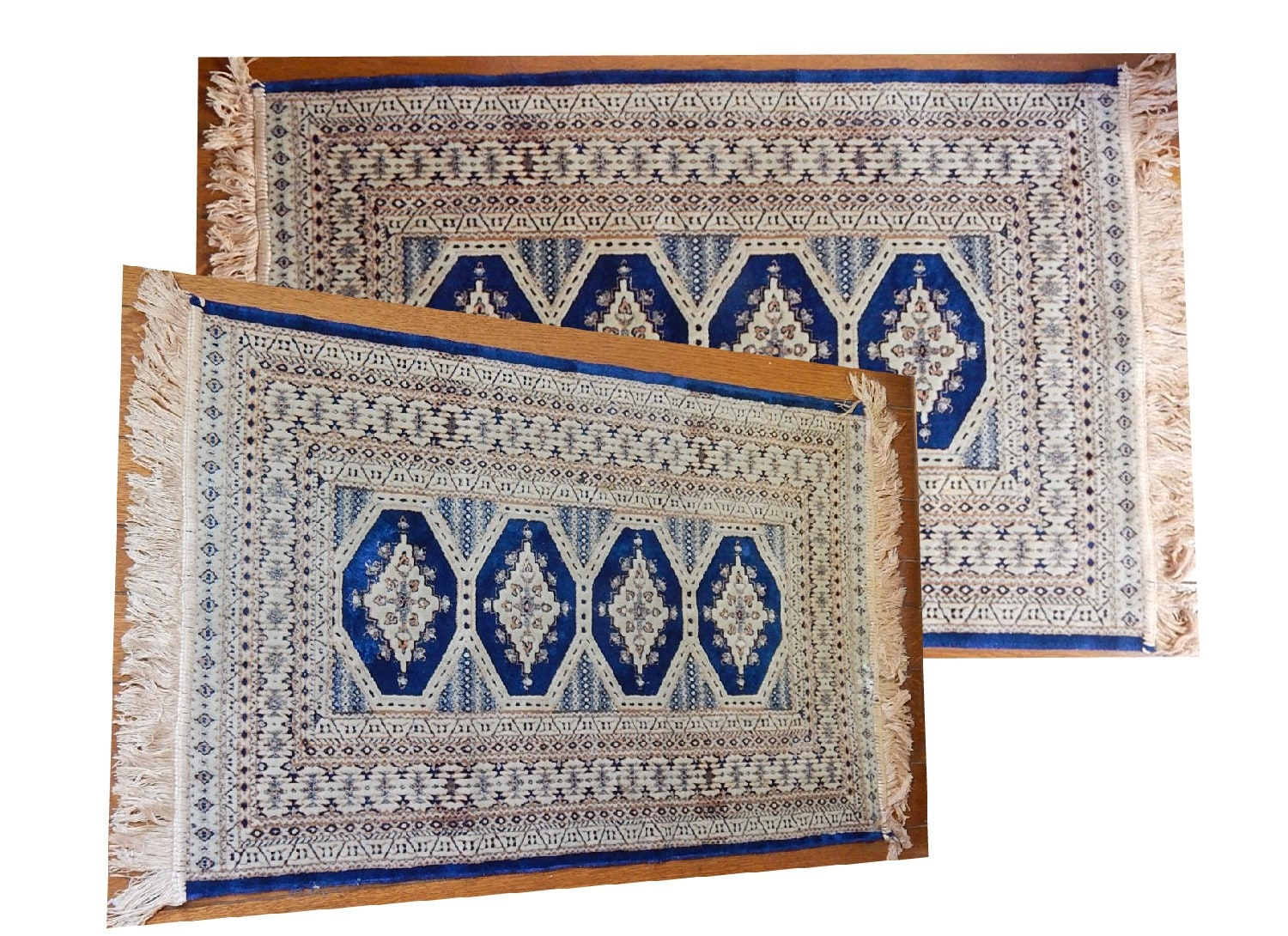 Two Silk Hand Woven Moroccan Rugs