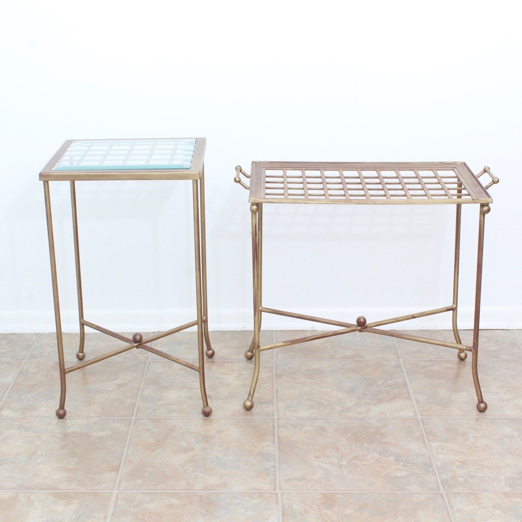 Two Vintage Wrought Iron Accent Tables By Bombay Company ...