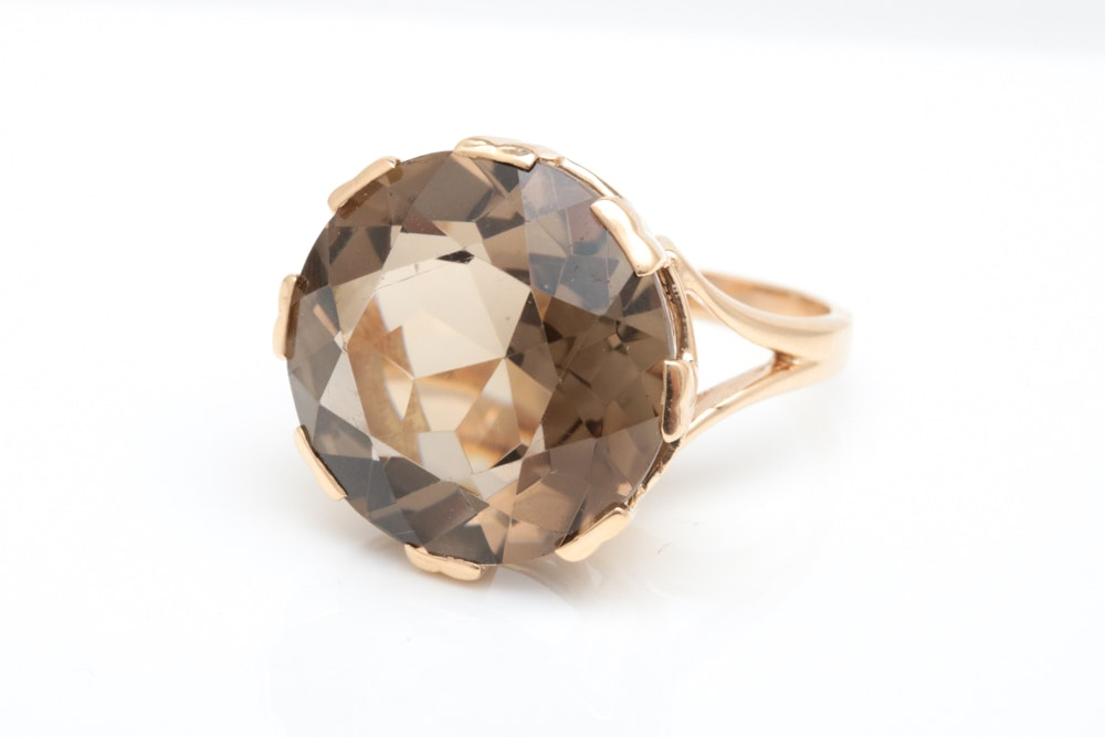14K Yellow Gold and 14.11 CT Smoky Quartz Cocktail Ring
