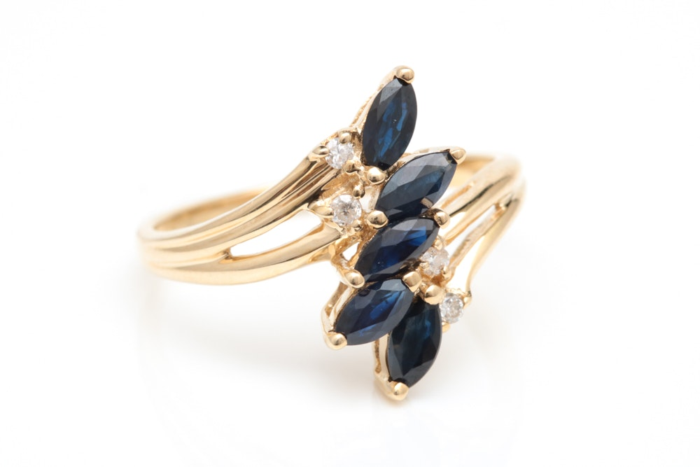 10K Yellow Gold, Blue Sapphire and Diamond Cocktail Ring