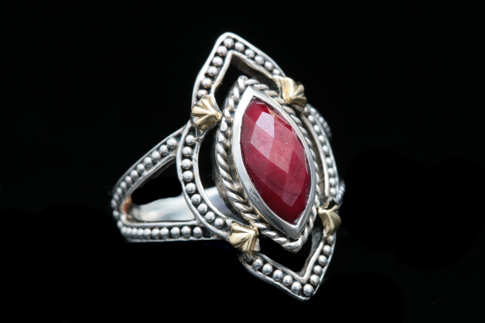 Robert Manse Sterling Silver, 18K Yellow Gold and Dyed Red Corundum Ring