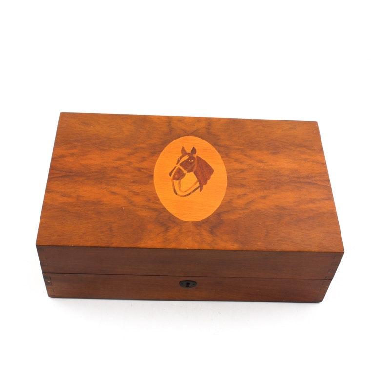 Intarsia Equine Music Box in Burled Maple