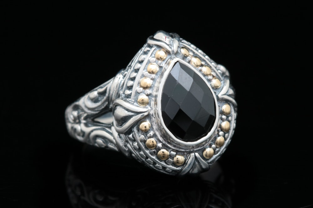 Robert Manse Sterling Silver, 18K Yellow Gold and Black Spinel Ring