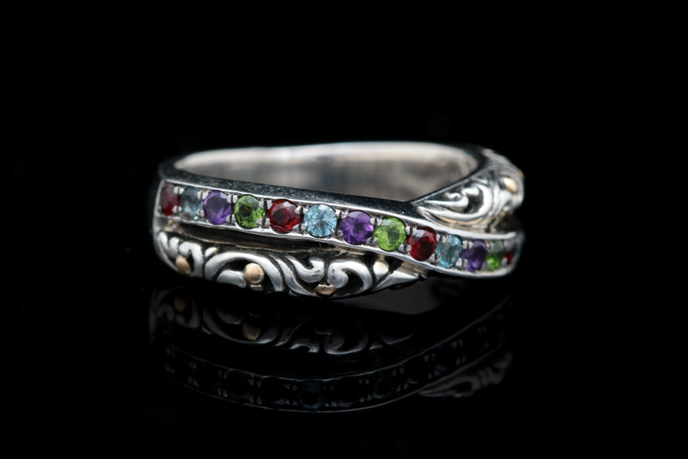 Robert Manse Sterling Silver, 18K Yellow Gold and Multi-Gemstone Ring