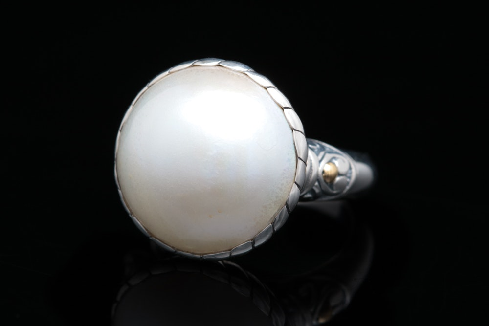Sterling Silver, 18K Yellow Gold and Mabé Pearl Ring