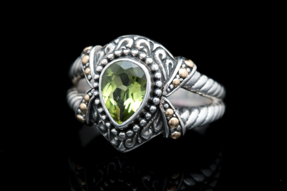 Robert Manse Sterling Silver, 18K Yellow Gold and Peridot Ring