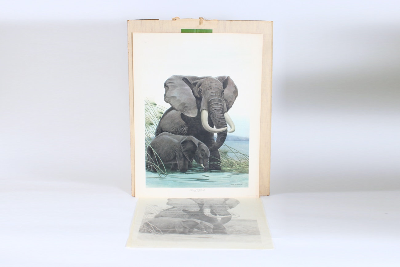 """John Ruthven Limited Edition Offset Lithograph """"African Elephants"""""""