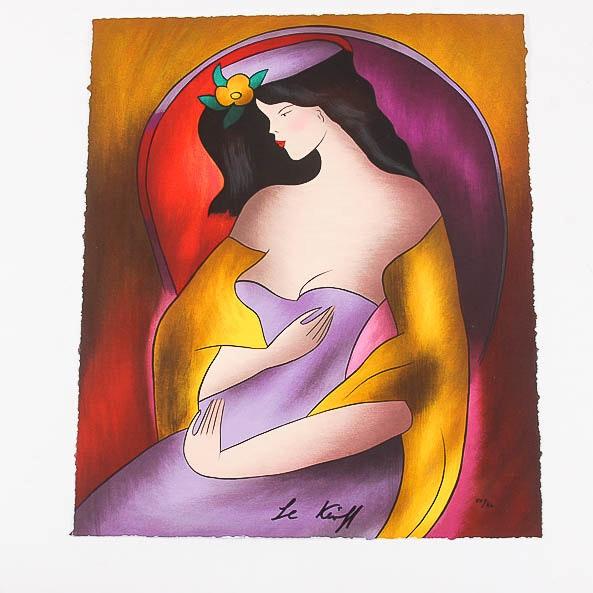 """Signed 2011 Serigraph by Linda Le Kinff """"Geraldin Violet"""""""