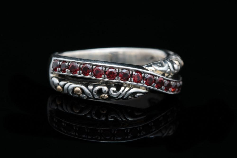 Robert Manse Sterling Silver, 18K Yellow Gold and Garnet Ring