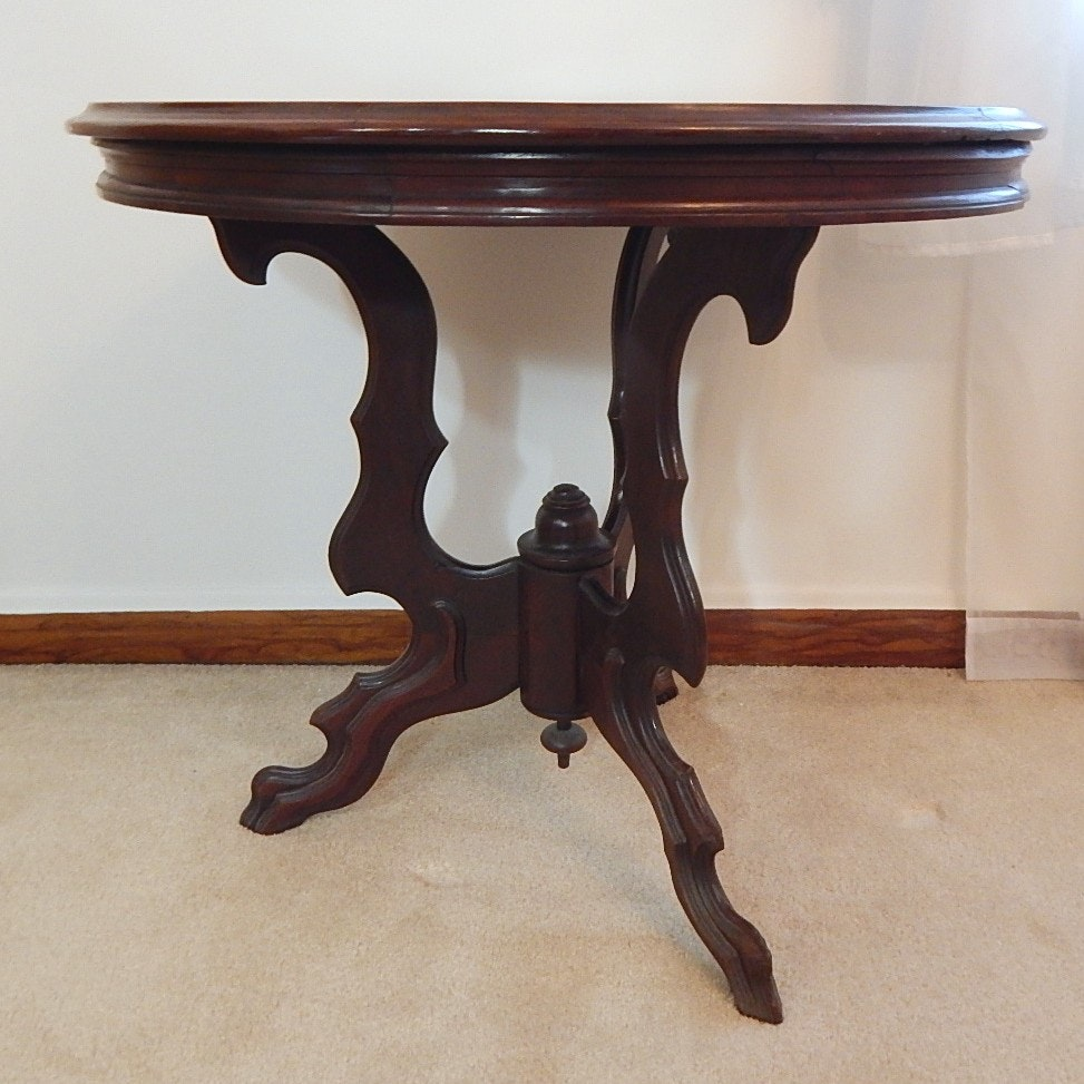 Eastlake Styled Round Walnut Parlor Table
