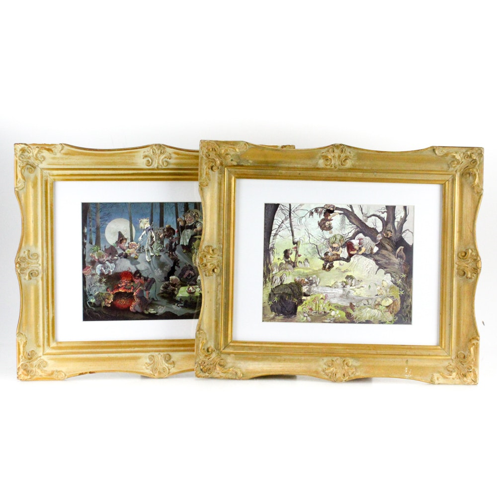 """Reproduction Prints on Embossed Foil After Johnstone """"Barbeque"""" and """"The Picnic"""""""