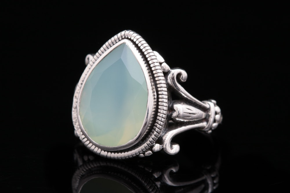 Sterling Silver and Green Chalcedony Ring