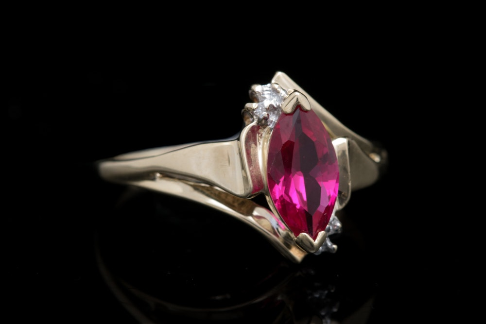 10K Yellow Gold, Synthetic Ruby and Diamond Ring