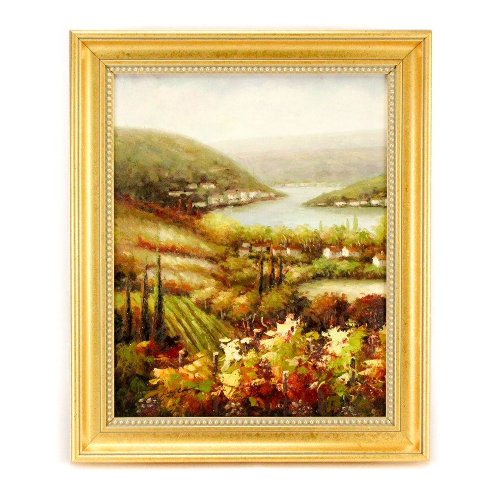 Lucca Oil Painting on Canvas of Tuscan Vineyard