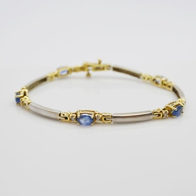 LeVian 14K White and Yellow Gold Sapphire and Diamond Bracelet