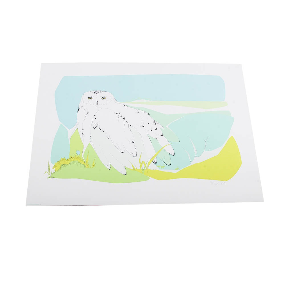 "Signed Limited Edition Serigraph ""Snowy Owl"" by Peter Parnell"
