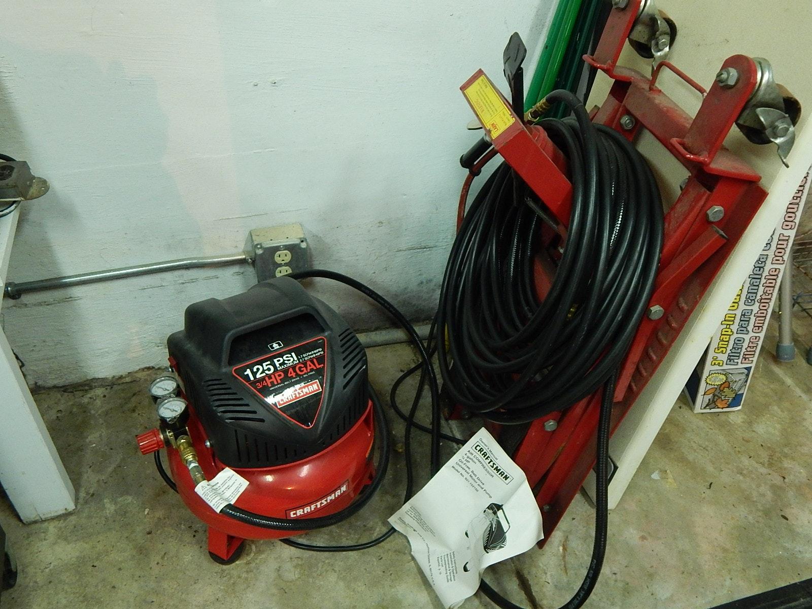 Craftsman Air Compressor, Hose, and Larin Lift