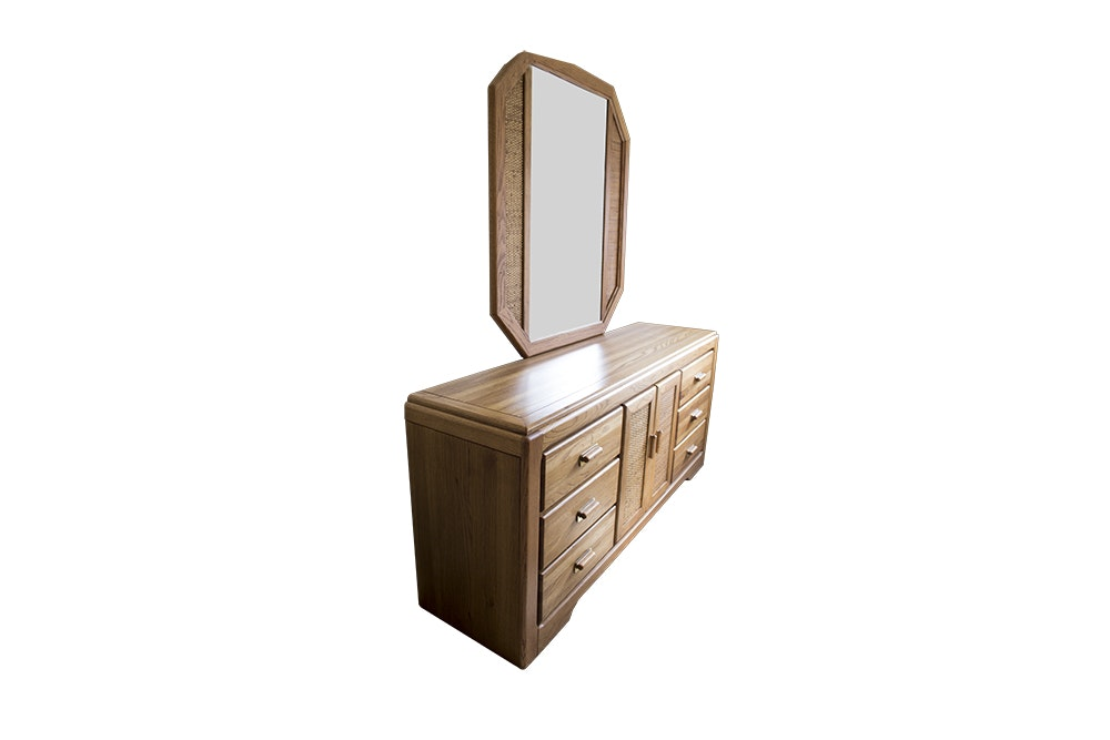 Vaughan of Virginia Oak Dresser with Octagonal Mirror