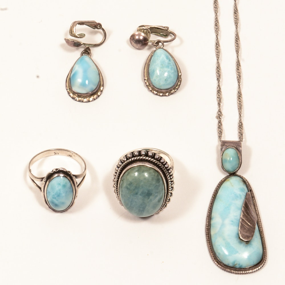 Sterling Silver Larimar and Aquamarine Jewelry
