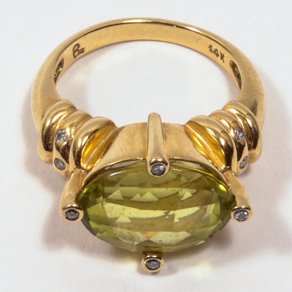 14K Yellow Diamond And Gold Lime Quartz Ring