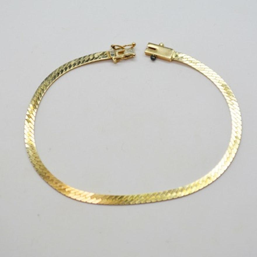 14k Yellow Gold Herringbone Bracelet Ebth