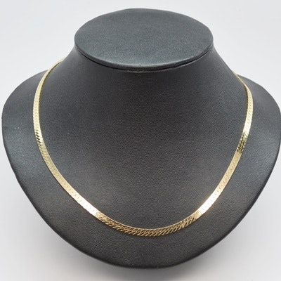 14K Yellow Gold Herringbone Necklace