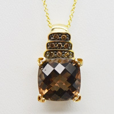 14K Yellow Gold Smoky Quartz and Diamond Pendant Necklace