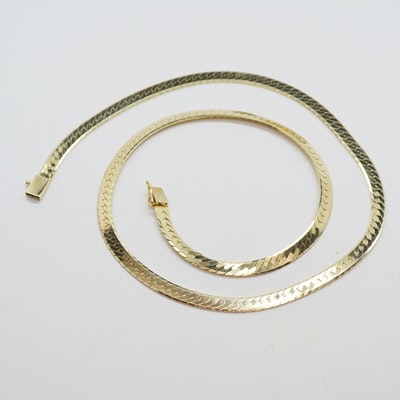 "14K Yellow Gold 18"" Herringbone Necklace"