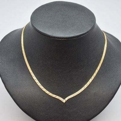 "14K Yellow Gold ""V"" Shape Herringbone Necklace"