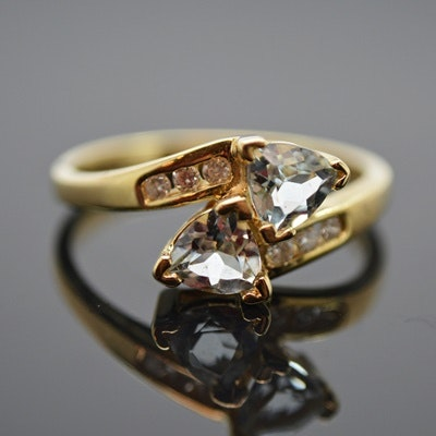10K Yellow Gold Aquamarine and Diamond Ring
