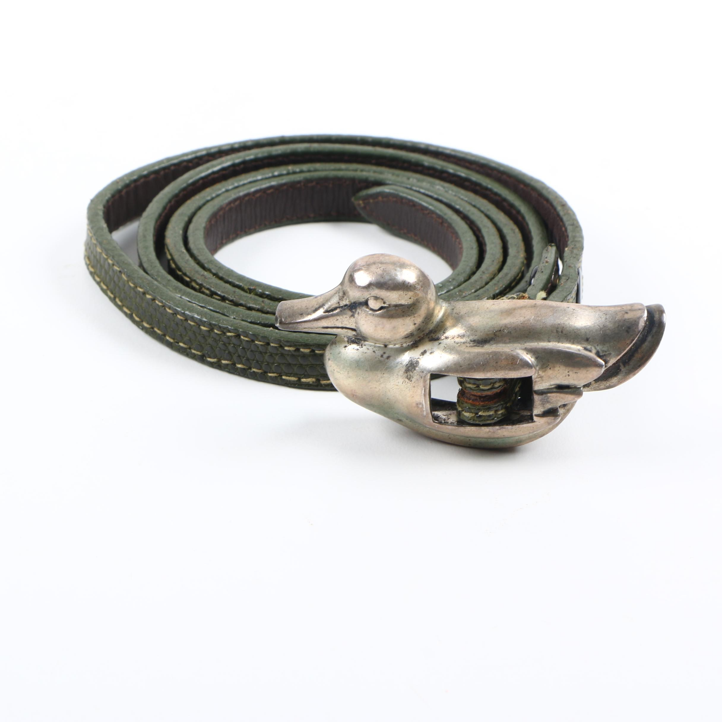 Barry Kieselstein-Cord Green Reptile Belt with Sterling Silver Buckle