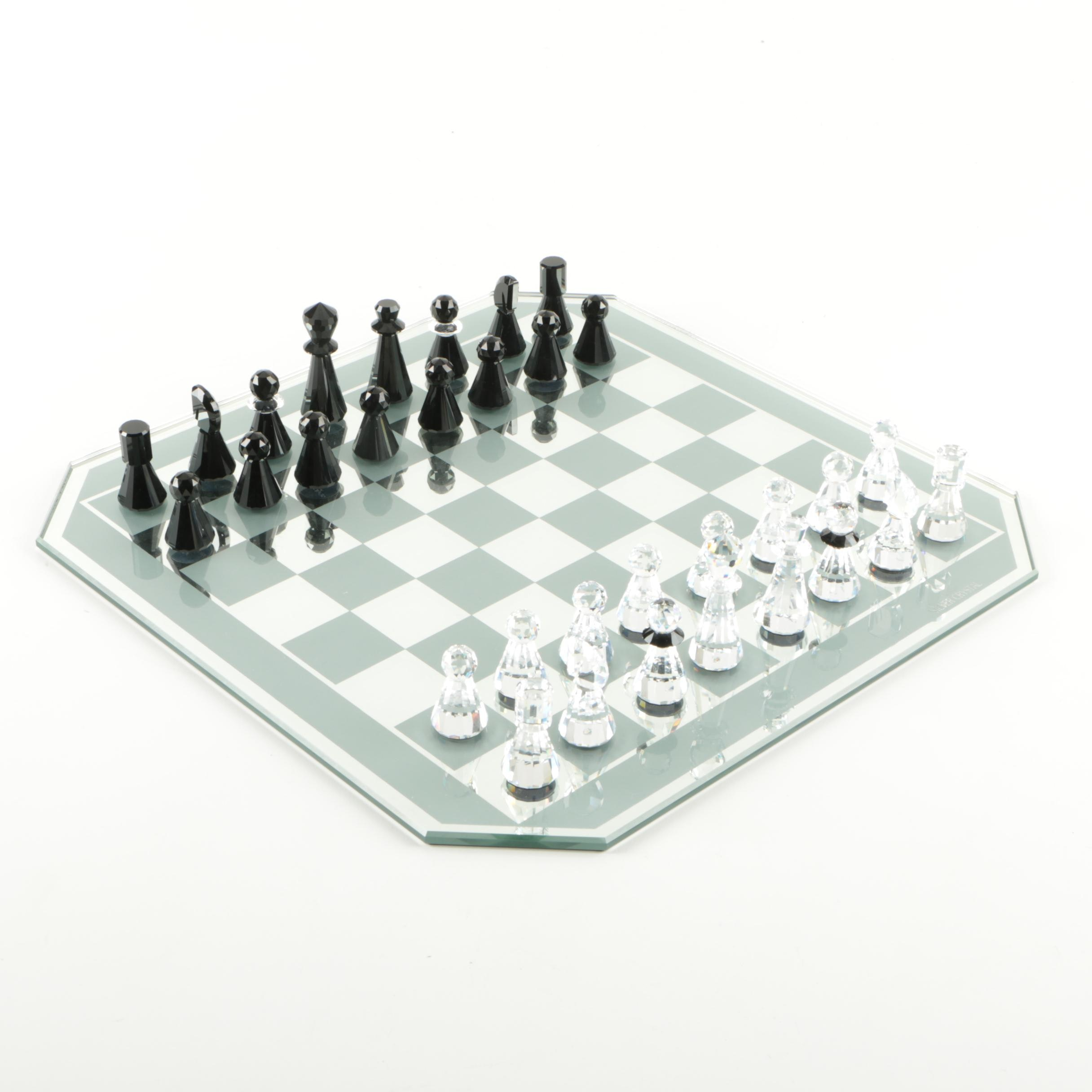 "Swarovski ""Silver Crystal"" Chess Set"