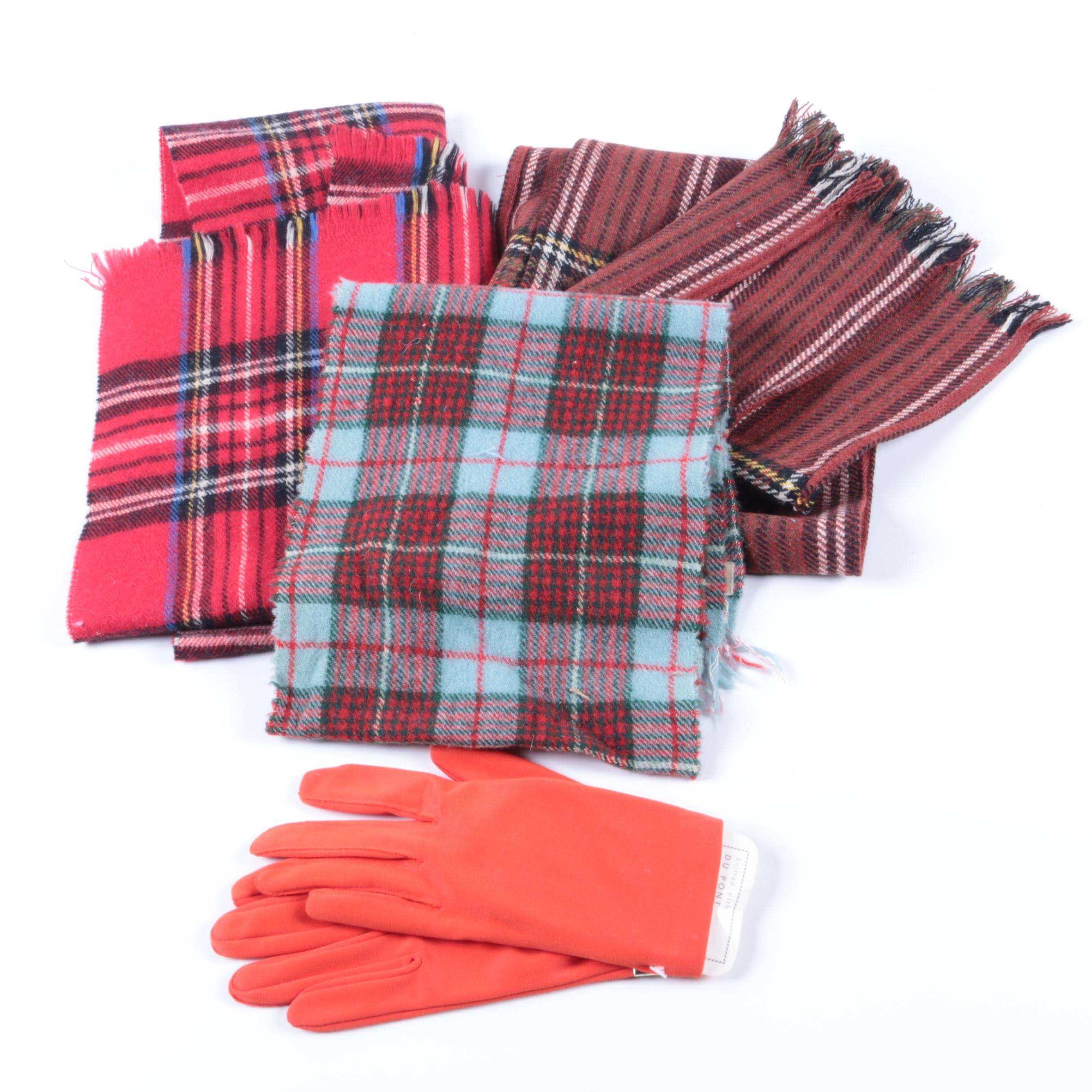 Women's Vintage Cold Weather Scarves and Pair of Gloves