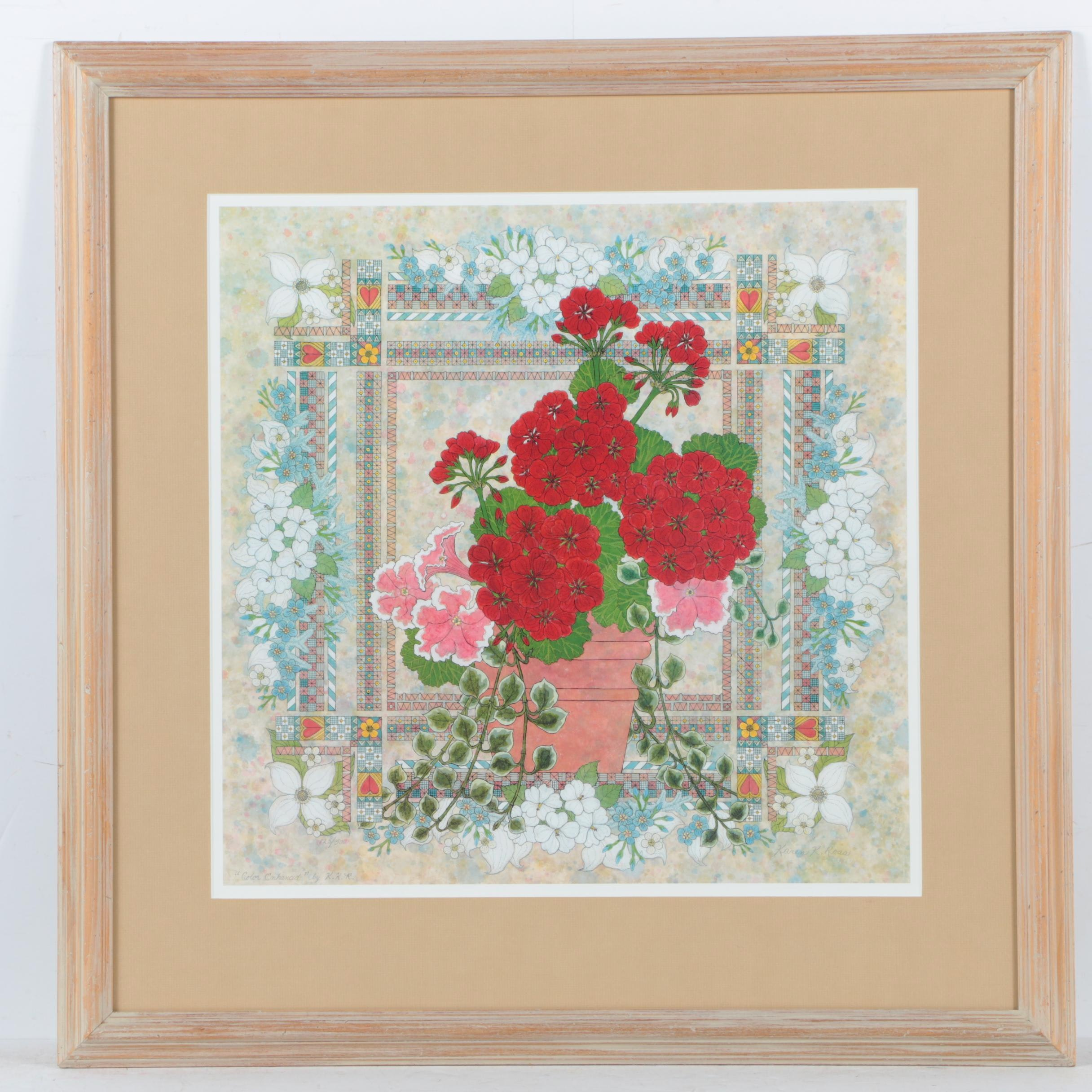 "Karen K. Ross Limited Edition Offset Lithograph ""Color Enhanced"""