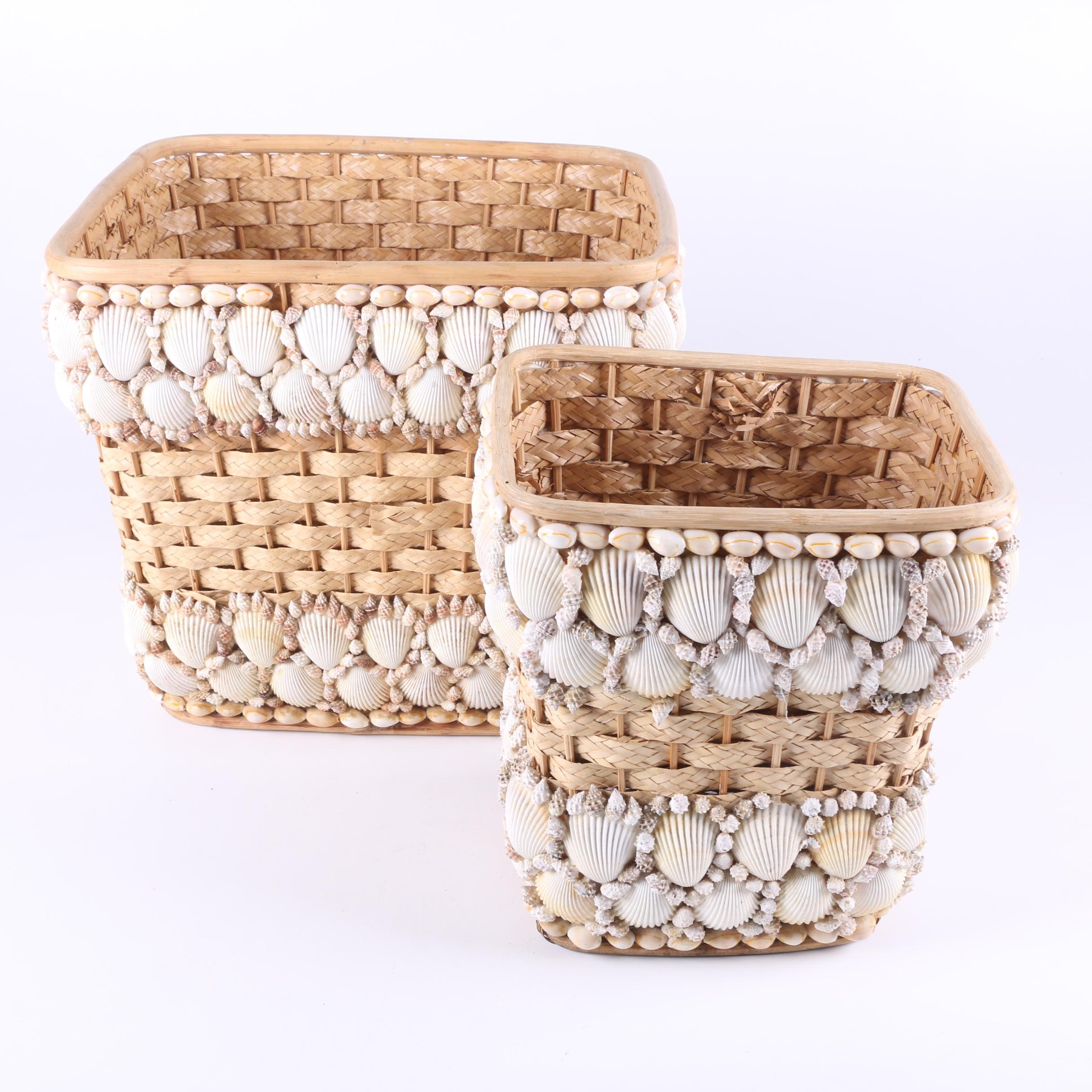 Woven Baskets with Shell Accents