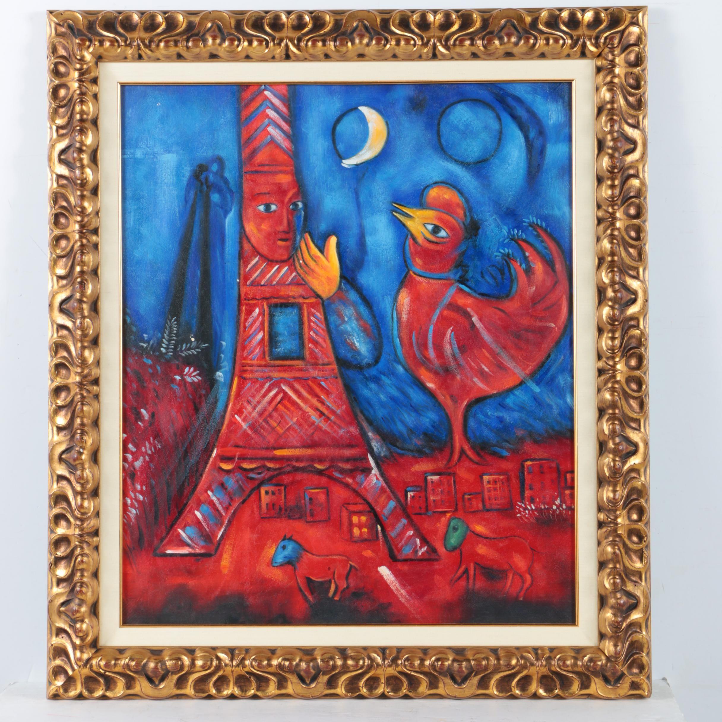 "Oil Copy Painting on Canvas After Marc Chagall's ""Bonjour Paris"""