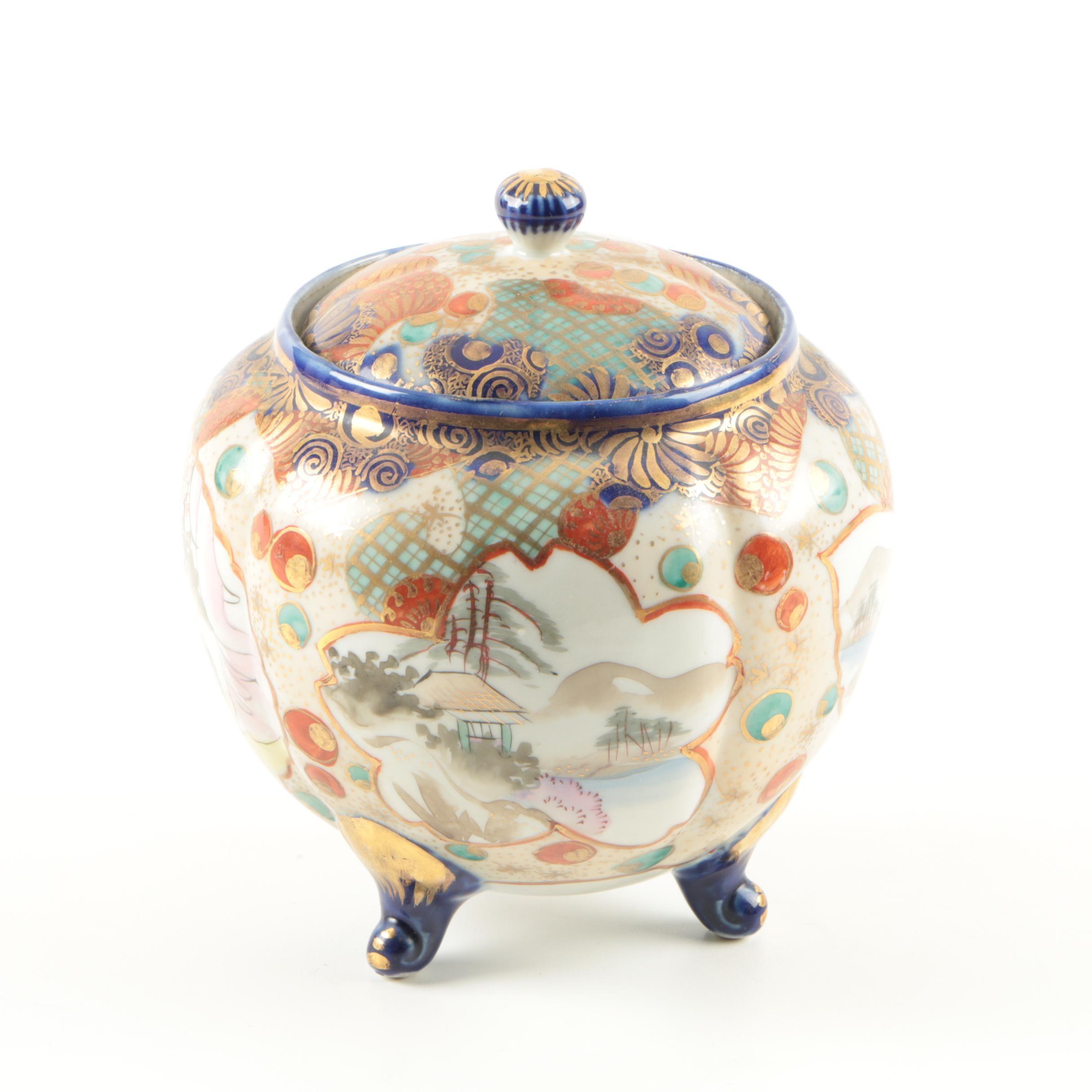 Japanese Kutani Porcelain Footed Jar