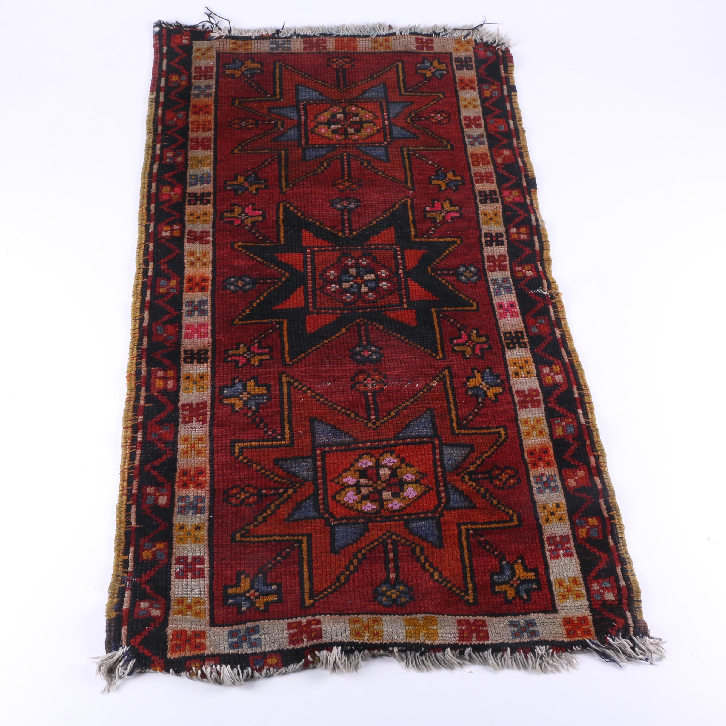 Vintage Handwoven Kazak Wool Accent Rug