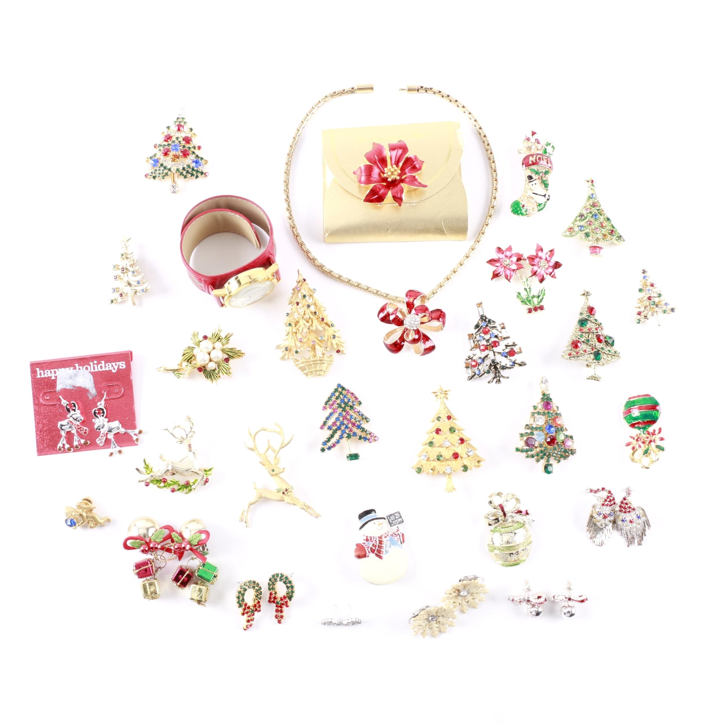 Silver and Gold Tone Christmas Earring and Brooch Assortment