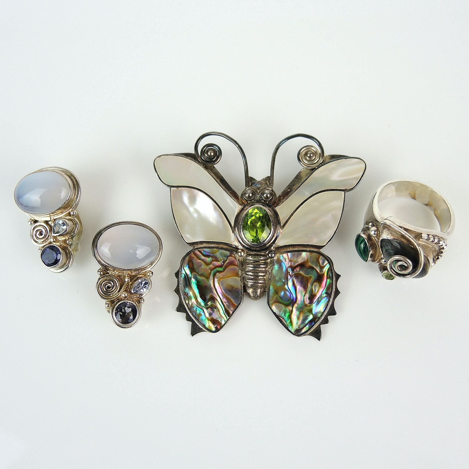 Sajen Sterling Silver Brooch, Earrings and Ring