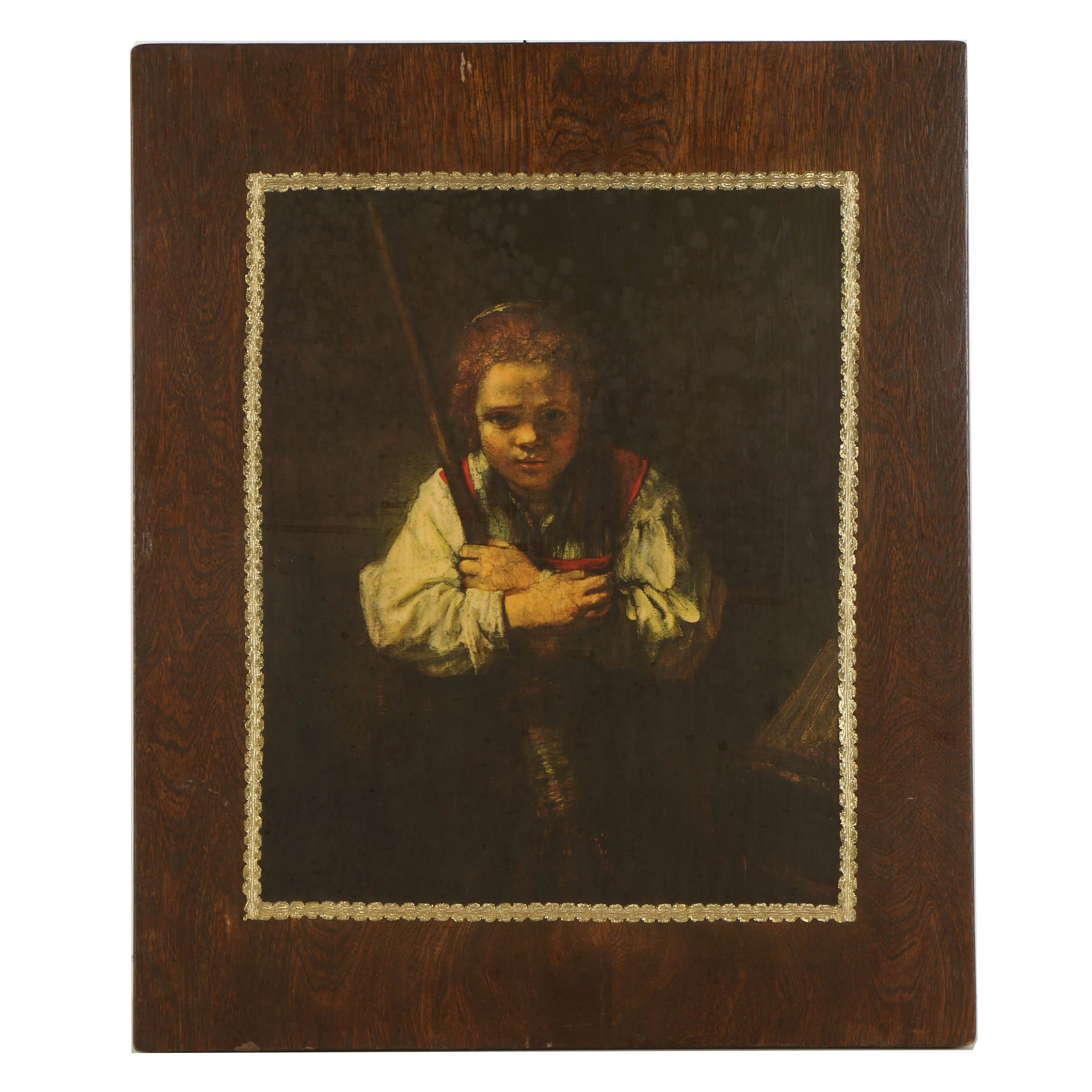 "Offset Lithograph on Paper after Rembrandt van Rijn ""A Girl with a Broom"""