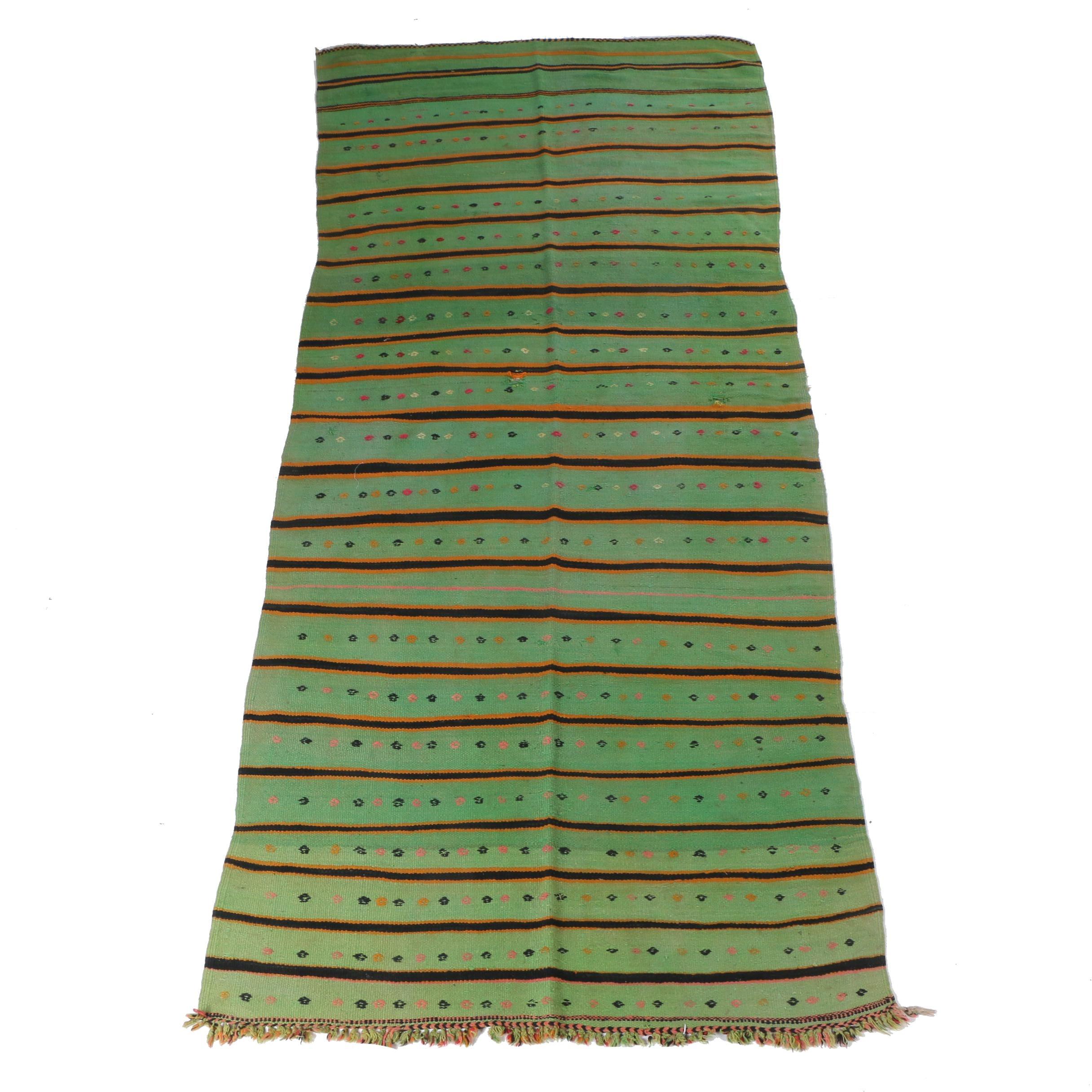 Handwoven and Embroidered Blue Ocean Traders Berber Wool Rug/Blanket