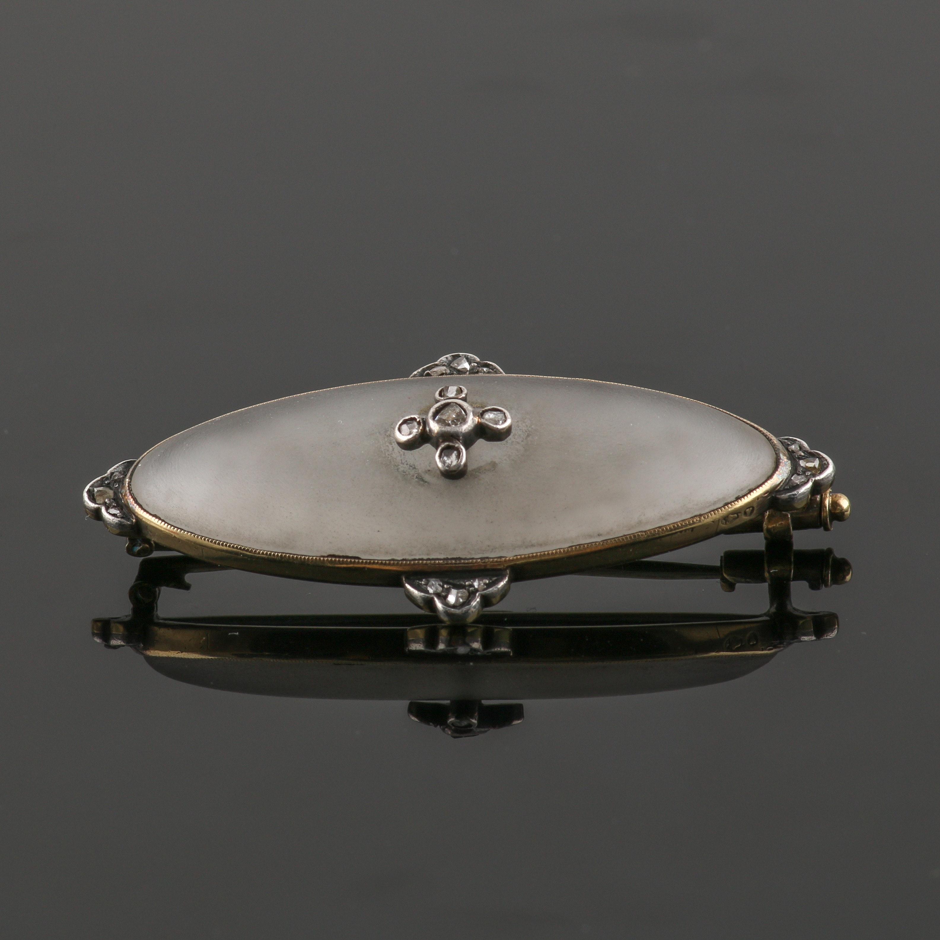 Mid to Late Victorian Era 14K Yellow Gold 800 Silver Diamond and Quartz Brooch