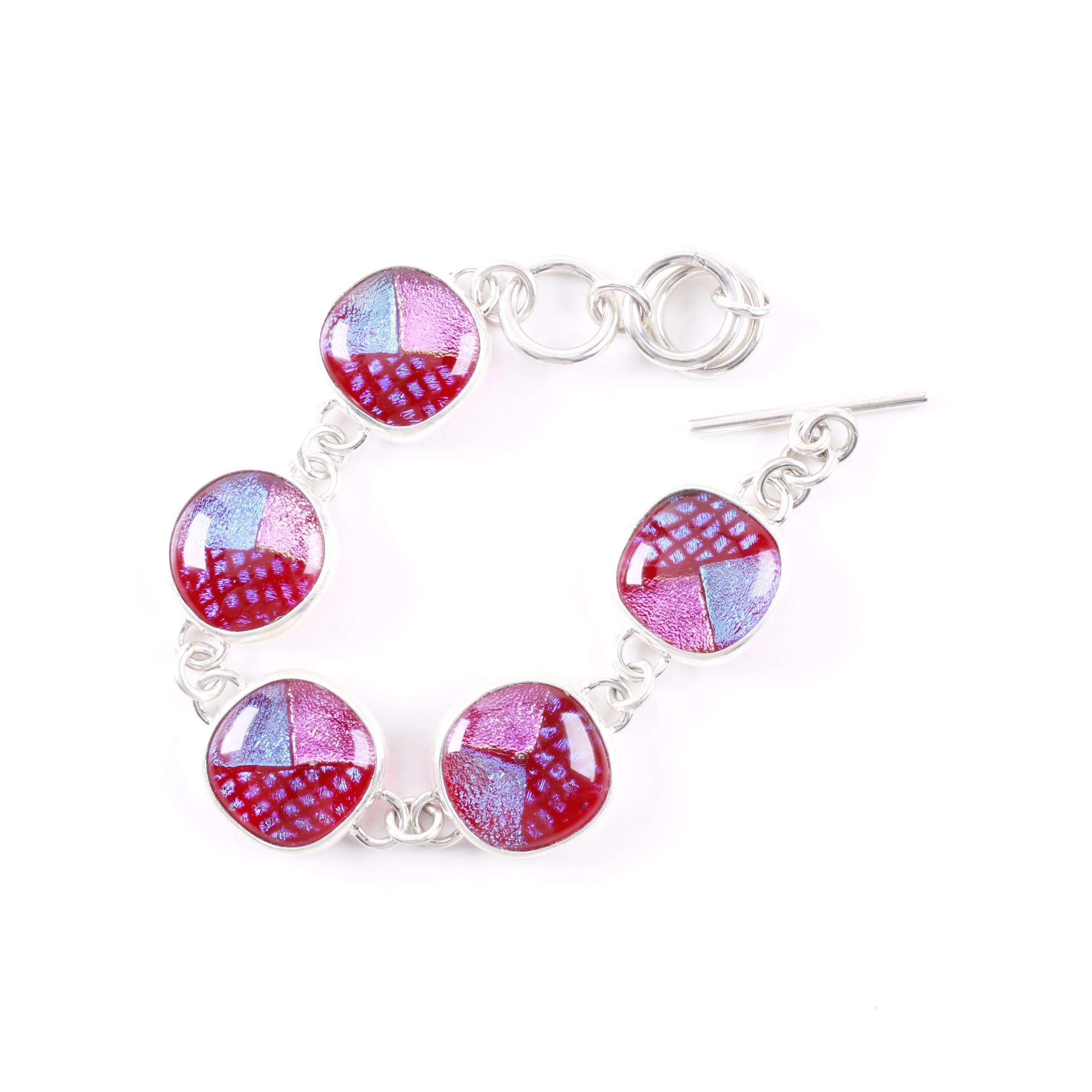 Sterling Silver and Dichroic Glass Toggle Bracelet