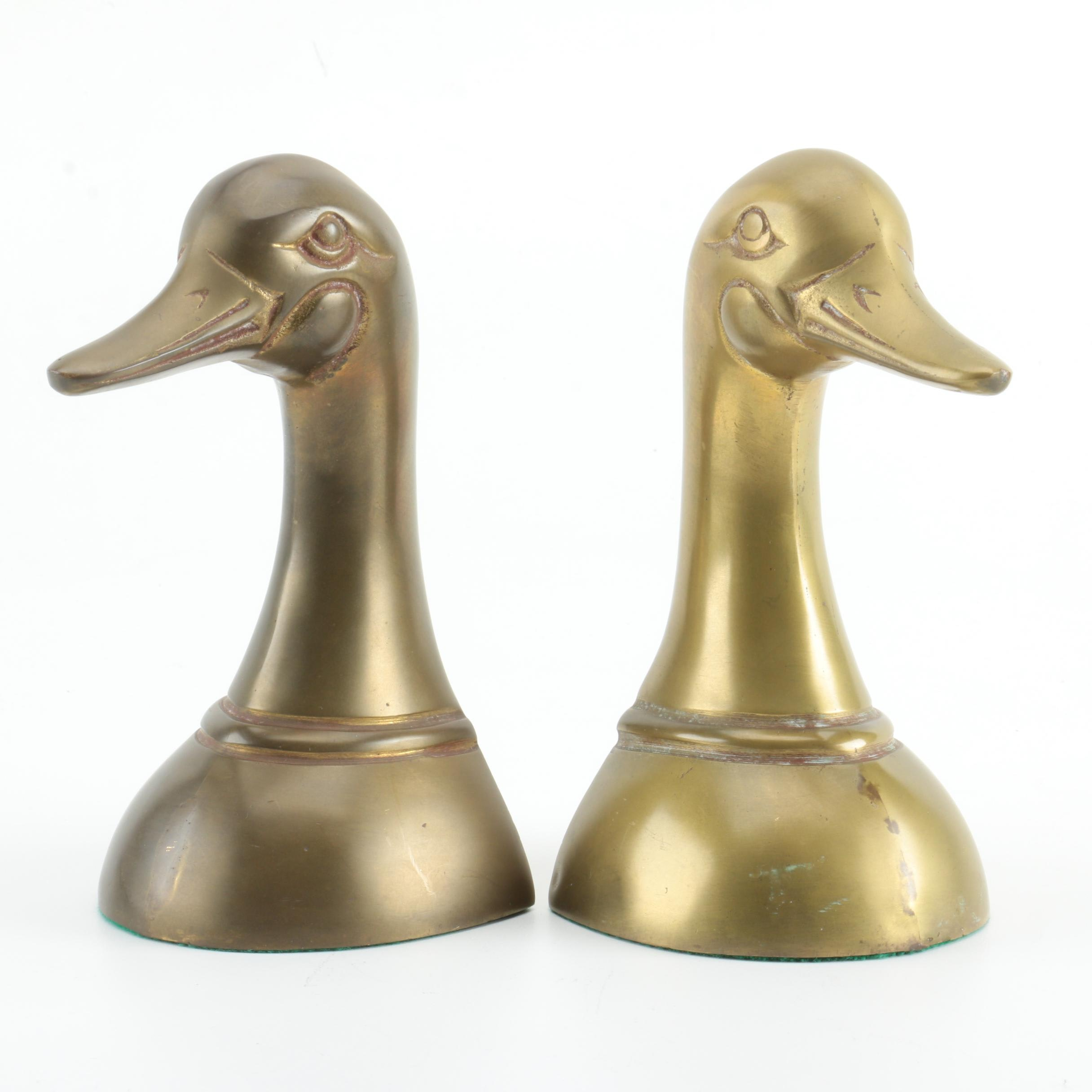 Vintage Brass Geese Bookends