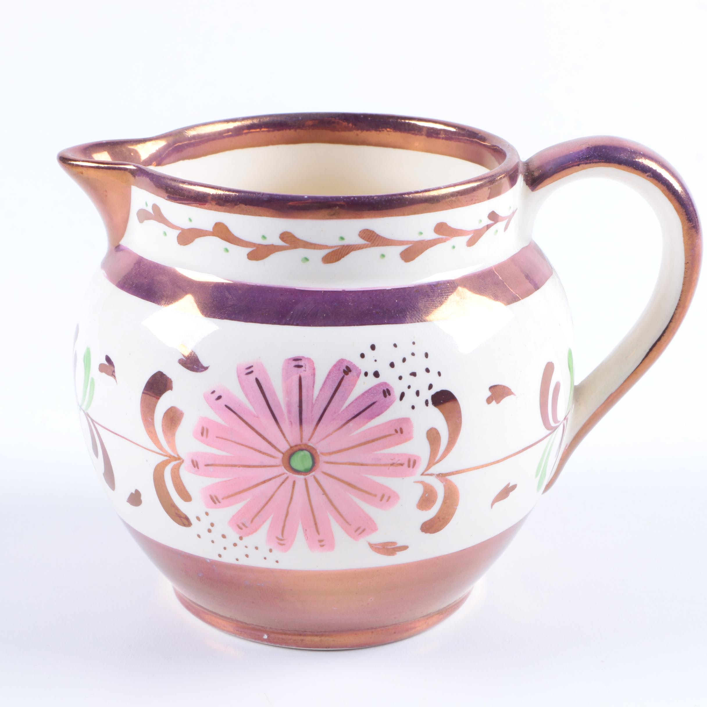 Old Castle Pink Lusterware Pitcher