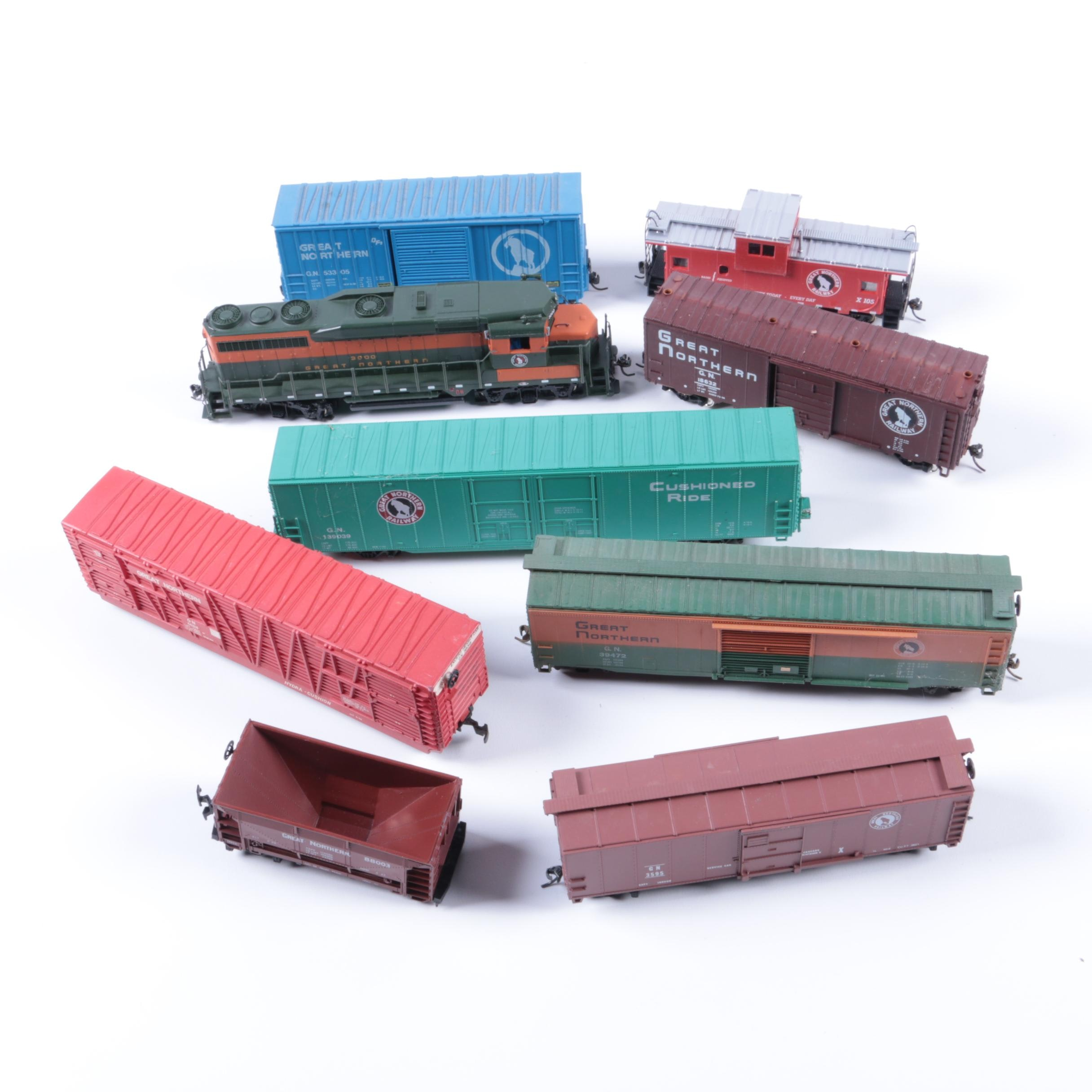 "Assorted HO Scale Train Cars Including Bachmann ""Spectrum"" Series Engine"